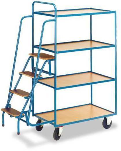 Kommissionierwagen Stahl pulverbeschichtet Traglast (max.): 250 kg Enzianblau (RAL 5010) ROLLCART AUG 74