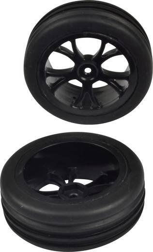 Reely 1:10 Buggy Kompletträder Rillen Reifen 5-Doppelspeichen Schwarz 1 Paar