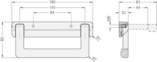 Klappgriff für Senkschrauben Schwarz (L x B x H) 180 x 20 x 80 mm Rohde KT-20.084.9005 1 St.