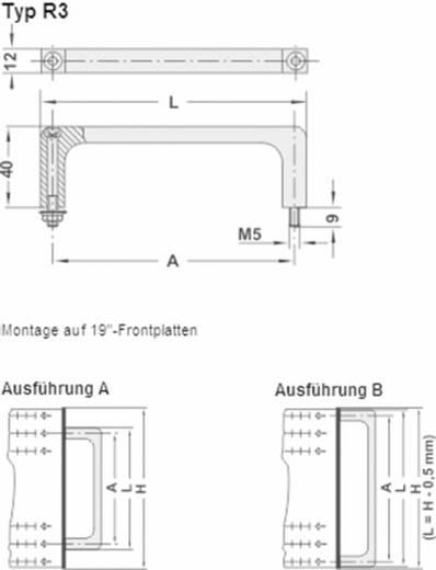 Profilgriff für Zylinderschrauben Schwarz (L x B x H) 192 x 12 x 40 mm Rohde R3-12.180.04 1 St.