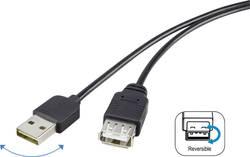 USB prodlužovací kabel Renkforce 1x USB 2.0 zástrčka ⇔ 1x USB 2.0 zásuvka 1.80 m, černá