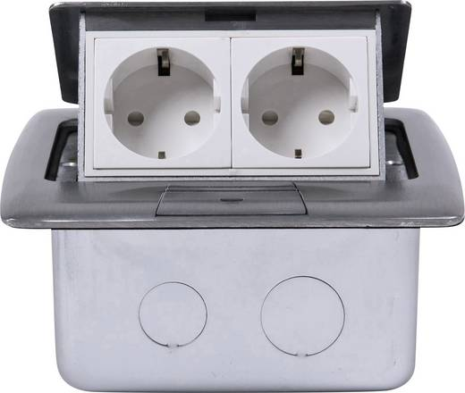 2fach Fußboden-Einbausteckdose IP20 Silber Heitronic 40462