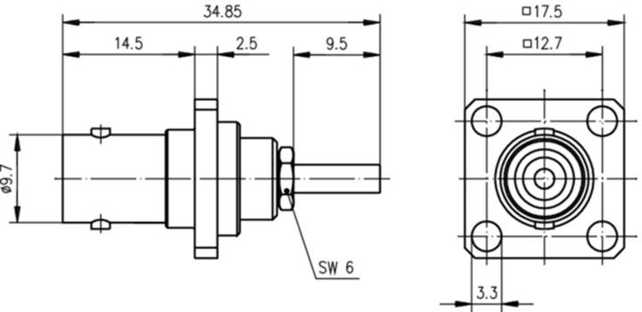 Telegaertner-j01001b0041-bnc-steckverbinder-buchse-einbau
