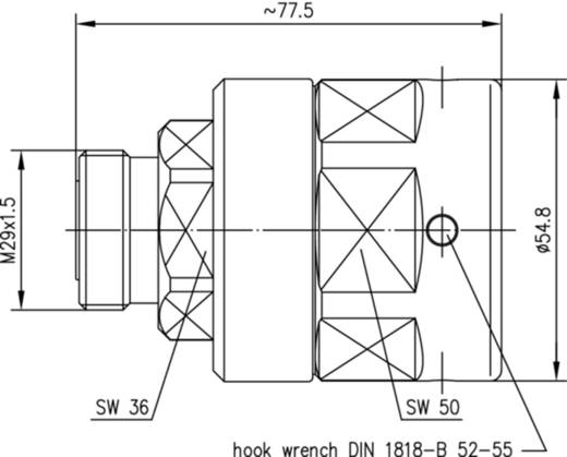 7-16-DIN-Steckverbinder Buchse, gerade 50 Ω Telegärtner J01121G0138 1 St.