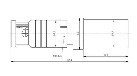 BNC-Steckverbinder Stecker, gerade 75 Ω Telegärtner J01290A0065 1 St.