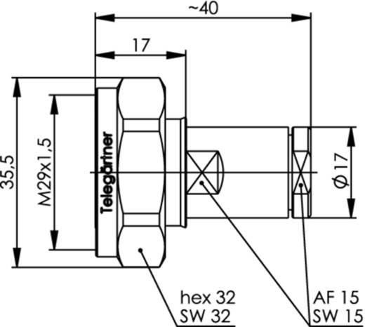 7-16-DIN-Steckverbinder Stecker, gerade 50 Ω Telegärtner J01120A0101 1 St.