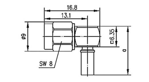 SMA-Reverse-Steckverbinder Stecker, gewinkelt 50 Ω Telegärtner J01150R0031 1 St.