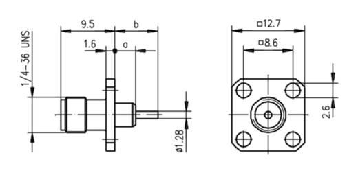 SMA-Steckverbinder Flanschbuchse 50 Ω Telegärtner J01151A0641 1 St.