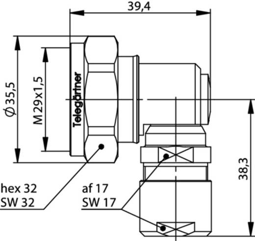 7-16-DIN-Steckverbinder Stecker, gewinkelt 50 Ω Telegärtner J01120B1160 1 St.