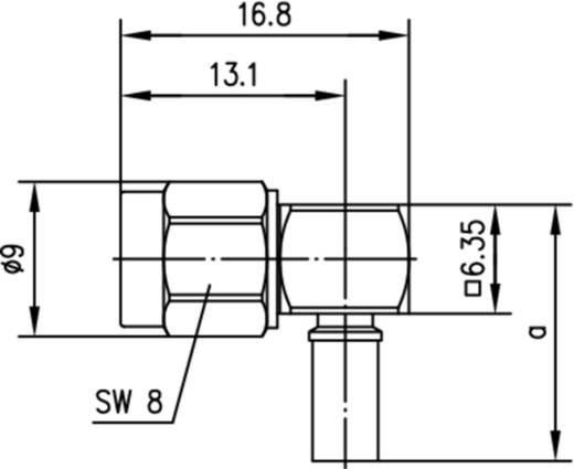 SMA-Reverse-Steckverbinder Stecker, gewinkelt 50 Ω Telegärtner J01150R0061 1 St.