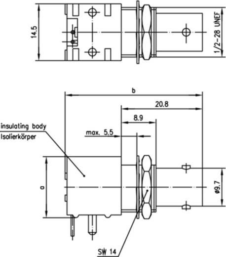 BNC-Steckverbinder Buchse, Einbau horizontal 50 Ω Telegärtner J01001F0000 1 St.