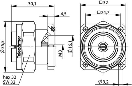 7-16-DIN-Steckverbinder Flanschstecker 50 Ω Telegärtner J01120D0043 1 St.