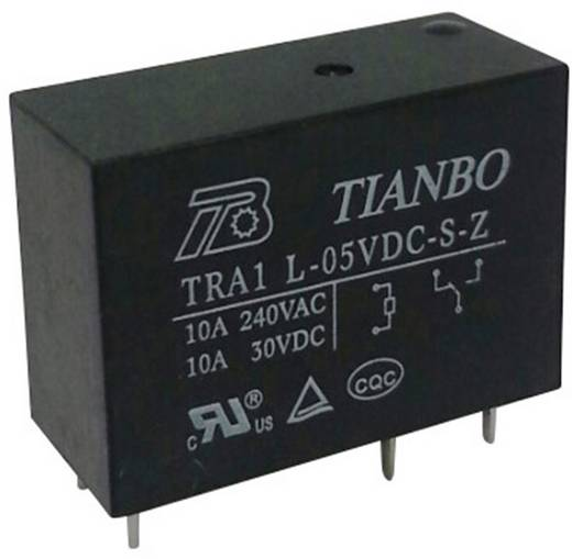 Printrelais 5 V/DC 12 A 1 Wechsler Tianbo Electronics TRA1 L-5VDC-S-Z 1 St.
