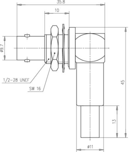 BNC-Steckverbinder Buchse, Einbau horizontal 50 Ω Telegärtner J01001A0055 1 St.