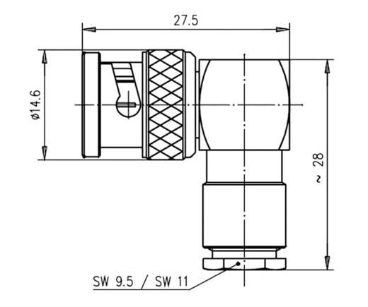 BNC-Steckverbinder Stecker, gewinkelt 50 Ω Telegärtner J01000A0007 1 St.