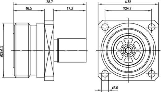 7-16-DIN-Steckverbinder Flanschbuchse 50 Ω Telegärtner J01121A0147 1 St.