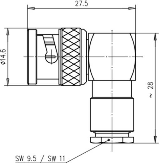 BNC-Steckverbinder Stecker, gewinkelt 75 Ω Telegärtner J01002A1316 1 St.