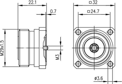 7-16-DIN-Steckverbinder Buchse, Einbau 50 Ω Telegärtner J01121A0721 1 St.