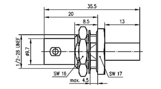 BNC-Steckverbinder Buchse, Einbau 50 Ω Telegärtner J01001A0034 1 St.