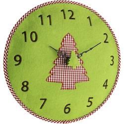 Quartz nástenné hodiny TFA Dostmann Filz-Wanduhr 60.3025.04, vonkajší Ø 330 mm, zelená