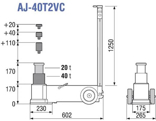 2-stufiger, lufthydraulischer Rangierheber 170 mm 510 mm 40 t TDL AJ-40T2VC