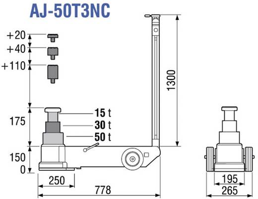 3-stufiger, lufthydraulischer Rangierheber 150 mm 495 mm 50 t TDL AJ-50T3NC