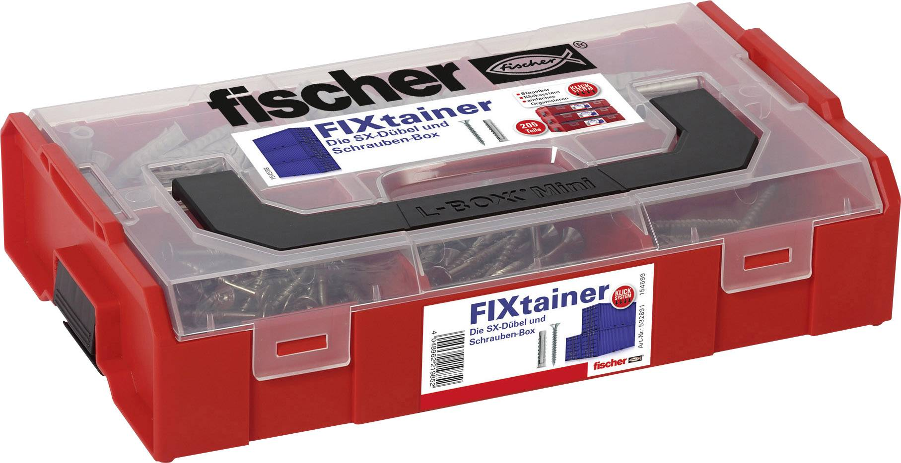 Innovativ Fischer 532891 FIXtainer - Die SX-Dübel und Schrauben-Box 210  BQ22