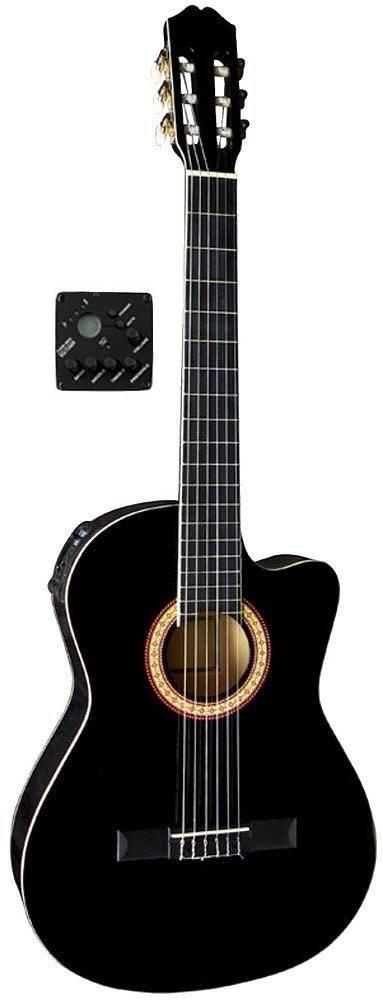 E-Akustik GEWApure Konzertgitarre Almeria Classic Electro Cutaway schwarz