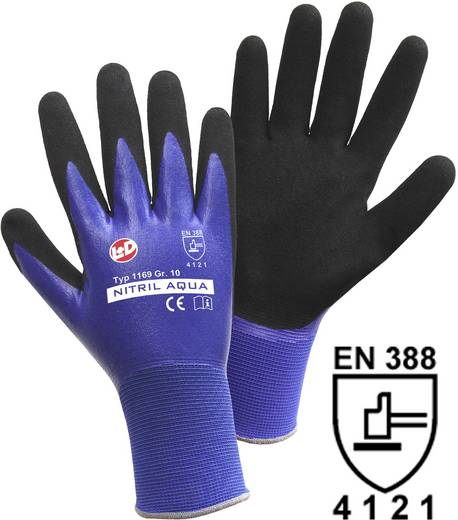 Nylon Arbeitshandschuh Größe (Handschuhe): 7, S EN 388 CAT II Leipold + Döhle Nitril Aqua 1169 1 Paar
