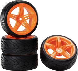 Kompletní kola Reely 12FO + Devil pro silniční model, 52 mm, 1:10, 4 ks, oranžová
