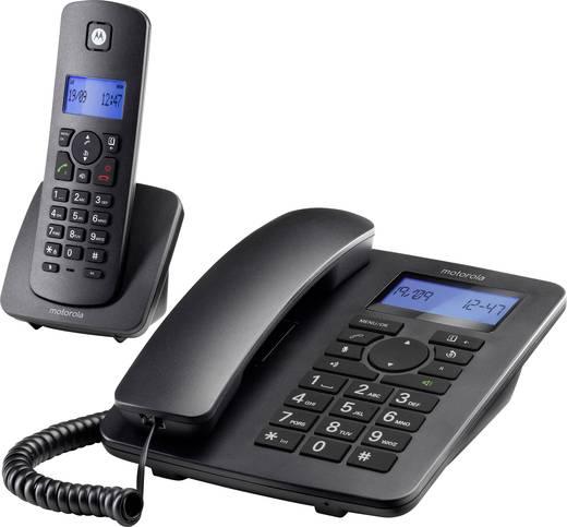Motorola C4201 Schnurgebundenes Telefon, analog Freisprechen, inkl. Mobilteil Beleuchtetes Display Schwarz