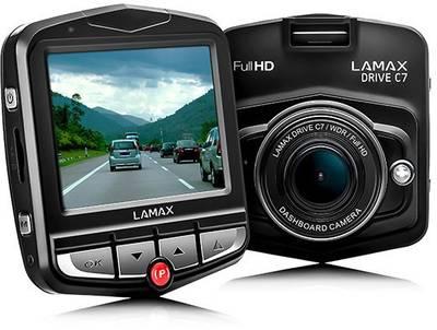 Lamax Drive C7 Dashcam Full HD mit Display, Akku und Mikrofon.