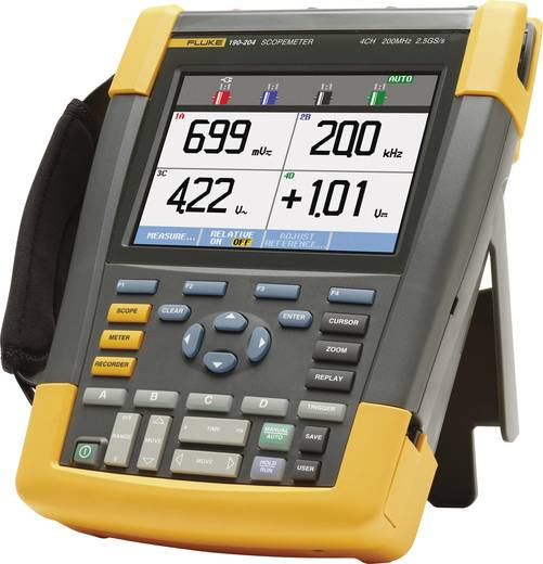Fluke 190-204/UN/S Hand-Oszilloskop (Scope-Meter) 200 MHz 4-Kanal 1.25 GSa/s 10 kpts 8 Bit Kalibriert nach DAkkS Digital