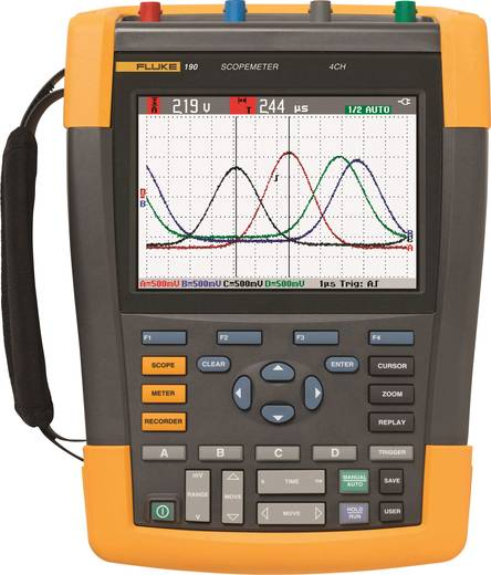 Fluke 190-104/UN Hand-Oszilloskop (Scope-Meter) 100 MHz 4-Kanal 1.25 GSa/s 10 kpts 8 Bit Kalibriert nach DAkkS Digital-S