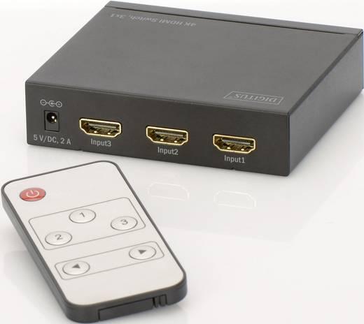 Digitus 3 Port HDMI-Switch 3D-Wiedergabe möglich, Metallgehäuse, mit Fernbedienung 4096 x 2160 Pixel