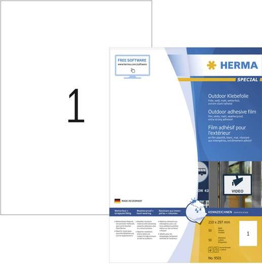 Herma 9501 Etiketten (A4) 210 x 297 mm Polyethylenfolie Weiß 50 St. Permanent Universal-Etiketten, Wetterfeste Etiketten