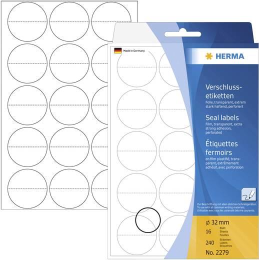 Herma 2279 Etiketten Ø 32 mm Folie Transparent 240 St. Permanent Verschluss-Etiketten