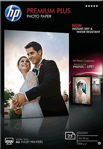 Fotopapier HP Premium Plus Photo Paper CR677A 10 x 15 cm 300 g/m² 25 Blatt Hochglänzend