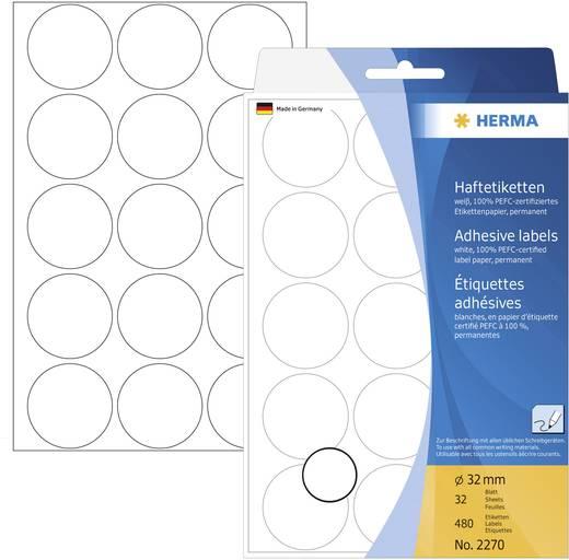 Herma 2270 Etiketten Ø 32 mm Papier Weiß 480 St. Permanent Markierungspunkte Etiketten