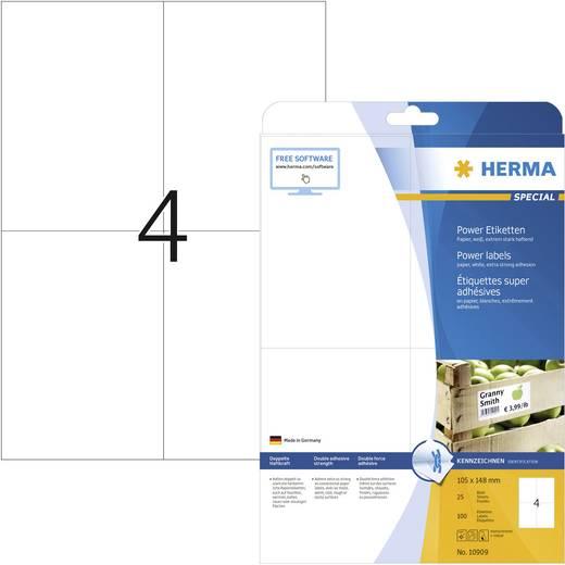 Herma 10909 Etiketten (A4) 105 x 148 mm Papier Weiß 100 St. Permanent Kraftkleber-Etiketten, Universal-Etiketten Tinte,