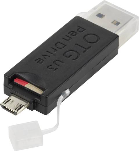 USB-Kartenleser Smartphone/Tablet Renkforce OTG302 Schwarz USB 3.0, Micro USB 2.0