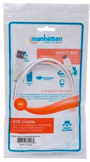 Manhattan USB 2.0 Kabel [1x USB 2.0 Stecker A - 1x USB 2.0 Stecker Micro-B] 1.8 m Weiß UL-zertifiziert