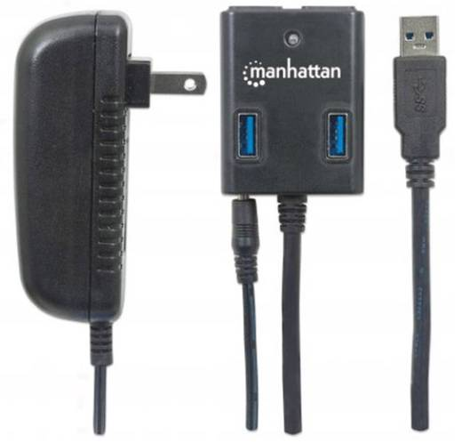Manhattan 4 Port USB 3.0-Hub Schwarz