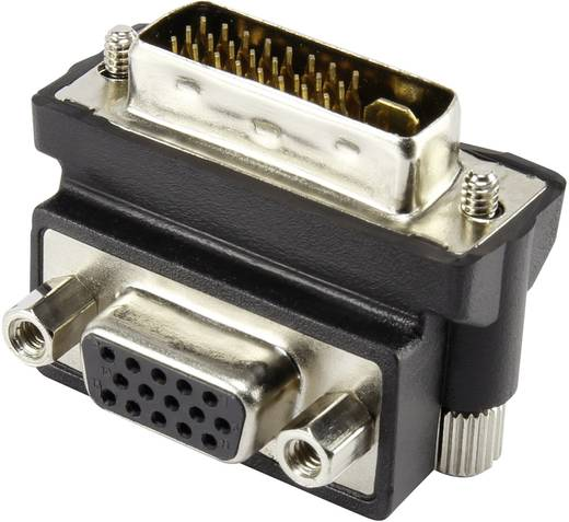 DVI / VGA Adapter [1x DVI-Stecker 24+5pol. - 1x VGA-Buchse] 90° gewinkelt Schwarz Renkforce