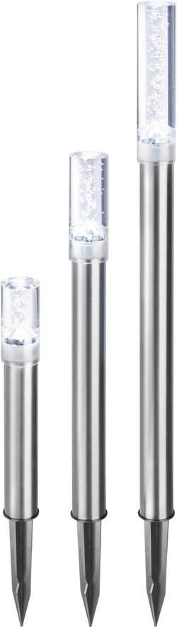 LED zahradní solární svítidlo Esotec Trio Sticks, IP44, nerezová ocel, studená bílá, sada 3