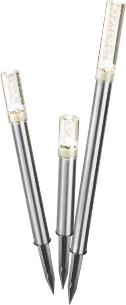 LED zahradní solární svítidlo Esotec Trio Sticks, IP44, nerezová ocel, teplá bílá, sada 3 ks
