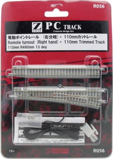 Z Rokuhan Gleis (mit Bettung) 7297056 Weiche, elektrisch, rechts 110 mm 13 ° 490 mm
