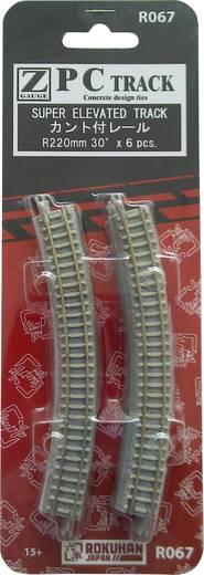 Z Rokuhan Gleis (mit Bettung) 7297067 Gebogenes Gleis, überhöht 30 ° 220 mm
