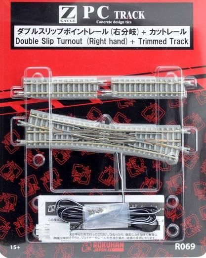 Z Rokuhan Gleis (mit Bettung) 7297069 Doppelkreuzungsweiche, elektrisch 112.8 mm 13 °