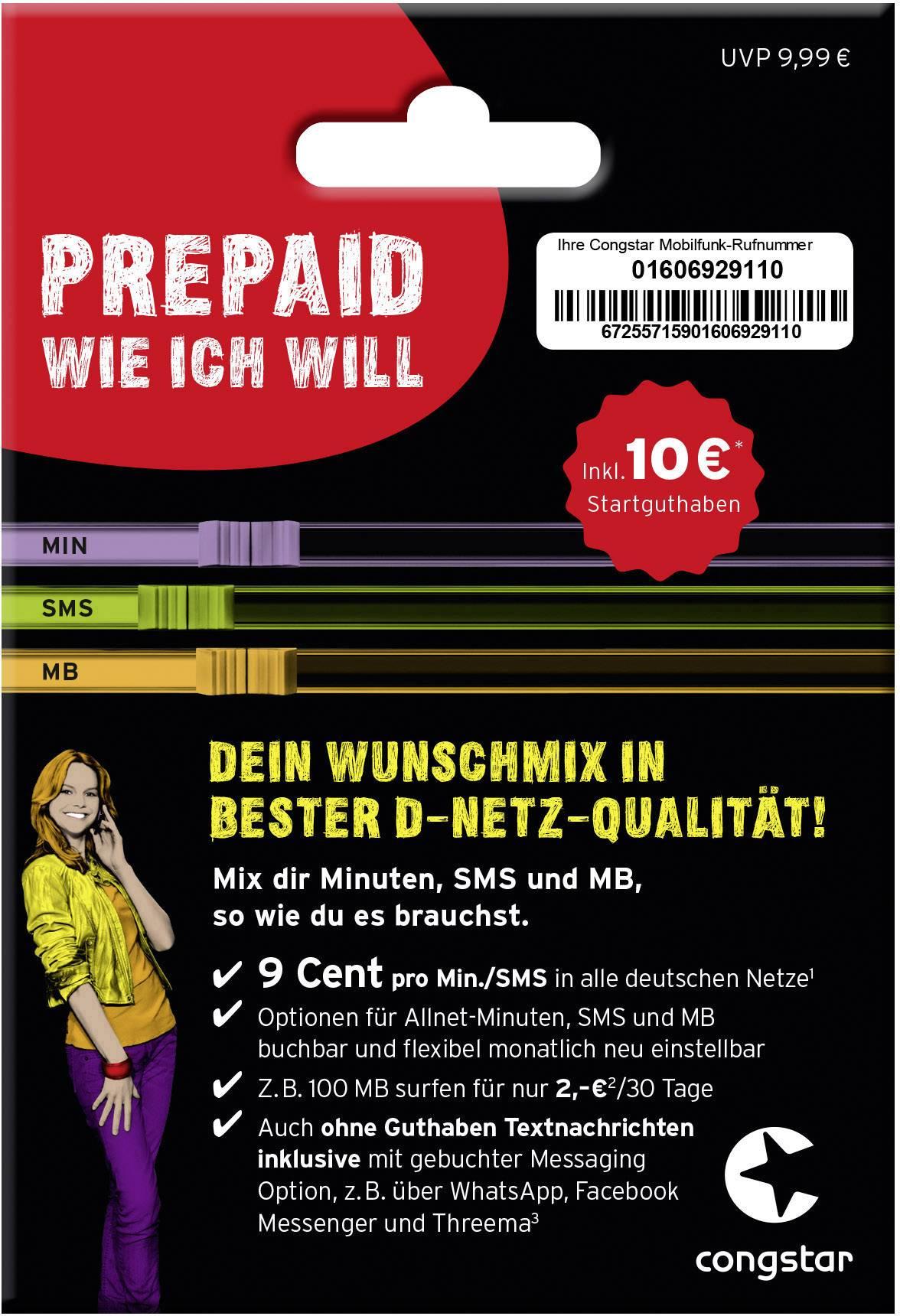 Prepaid Karte Kaufen.Congstar Starterpaket Wunsch Mix Prepaid Karte Ohne Vertragsbindung